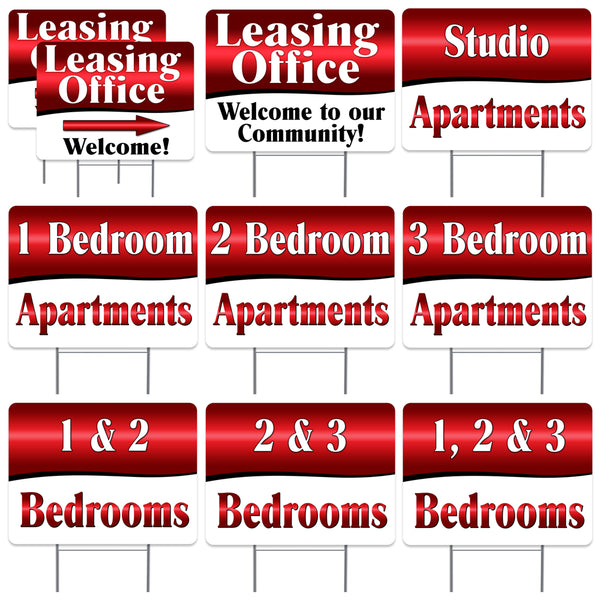 "APARTMENT LEASING Red 10 Pack Yard Sign - Each is 24"" x 18"" and come with Metal Stake - Set 1"