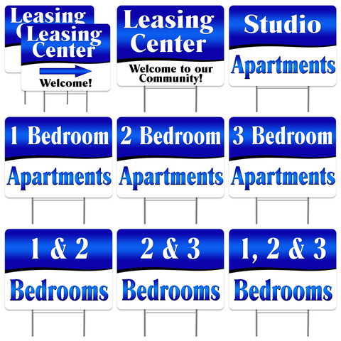 "APARTMENT LEASING 10 Pack Yard Sign - Each is 24"" x 18"" and come with Metal Stake - Set 1"