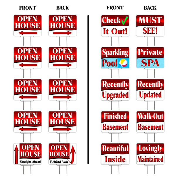"Open House (Red) 10 Pack Yard Signs - Each is 24"" x 18"" and comes with a Heavy Duty (Reusable) Step-Stake - Set 3"