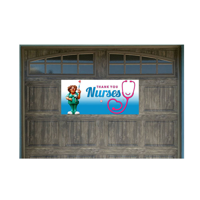 "Thank You Nurses Magnetic 21"" x 47"" Garage Banner For Steel Garage Doors (Made in the USA)"