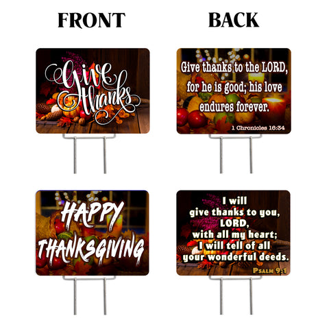 "Thanksgiving 2 Pack Yard Signs - Each is 24"" x 18"" with Upgrade Metal Stake (SET 1)"