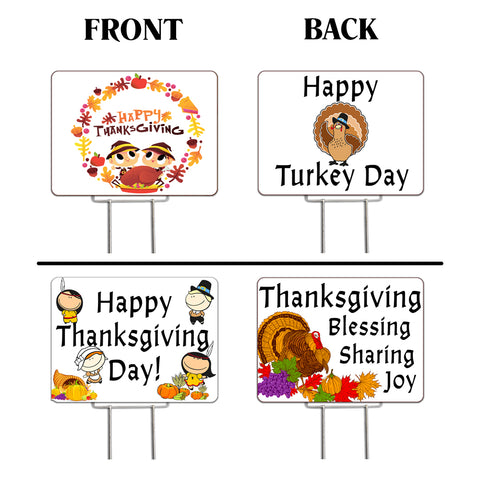 "Thanksgiving 2 Pack Yard Signs - Each is 24"" x 18"" with Upgrade Metal Stake (SET 3)"