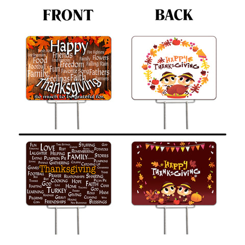 "Thanksgiving 2 Pack Yard Signs - Each is 24"" x 18"" with Upgrade Metal Stake (SET 4)"