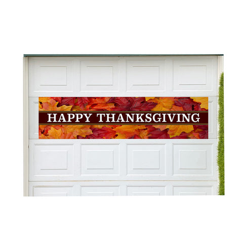 "Happy Thanksgiving Magnetic 21"" x 84"" Garage Banner For Steel Garage Doors"
