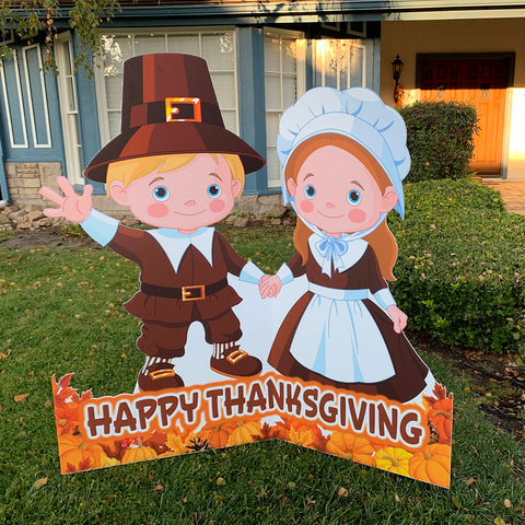 "Outdoor Thanksgiving Pilgrims Standee Cutout 47"" x 47"" with Stand"