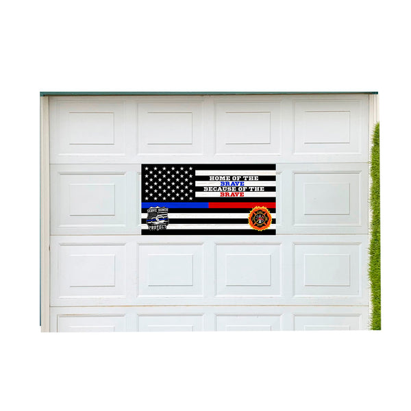 "Thin Blue Red Line (Home of the Brave) Vintage Wood Look 21"" x 40"" Magnetic Garage Banner For Steel Garage Doors"