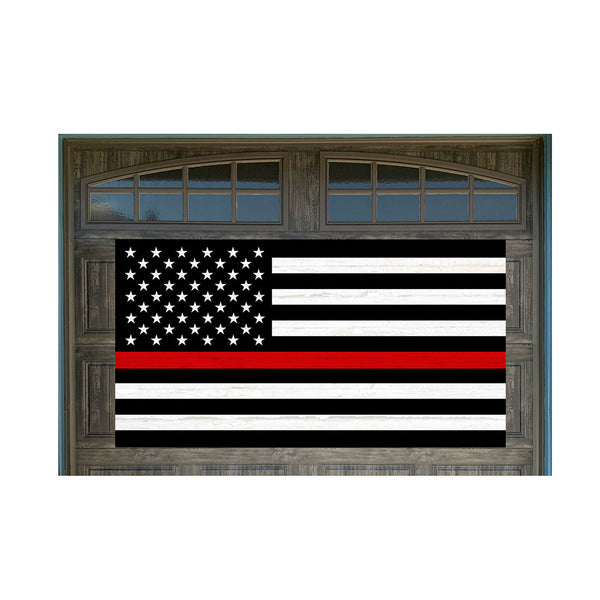"Thin Red Line US Flag Firefighter Support Vintage Wood Look 42"" x 78"" Magnetic Garage Banner For Steel Garage Doors"