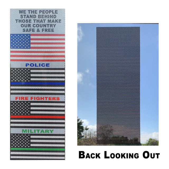 "Thin Line Flag Set Perforated Window Decals (USA, Thin Blue, Thin Red, Thin Green) Removable 15"" x 5.5"""
