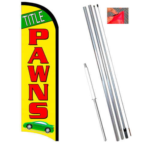 TITLE PAWNS (Green/Yellow) Windless-Style Feather Flag Bundle 14' OR Replacement Flag Only 11.5'