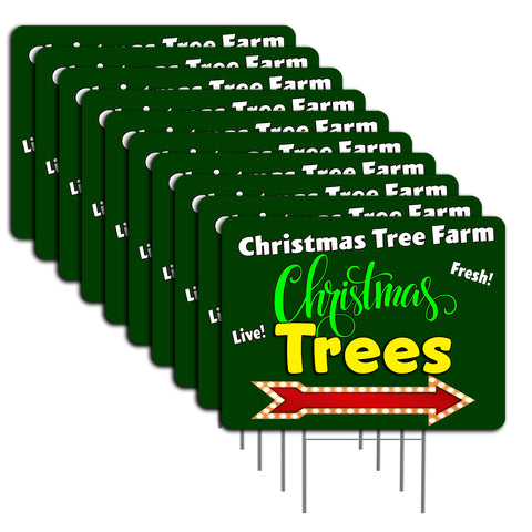 "Christmas Tree Farm (Arrow) 10 Pack Yard Signs - Each is 24"" x 18"" and come with Metal Stake Set 2"