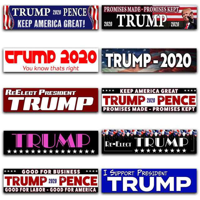 "Trump 10 Pack Car Decals (Removable, 3""x12"") 10 Unique Bumper Stickers Plus 7 Bonus Decals"