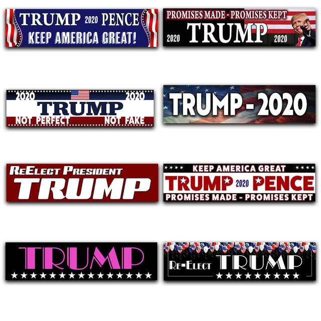 "Trump 8 Pack Car Decals (Removable, 3""x12"") 8 Unique Bumper Stickers"