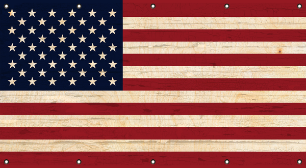 "US FLAG Pattern Vintage Wood Look Vinyl Banner 33"" x 60"" (Made in the USA)"