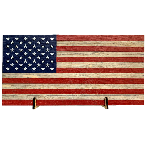 US Flag Wood Flag *with Living Hinge Stand - Size Options