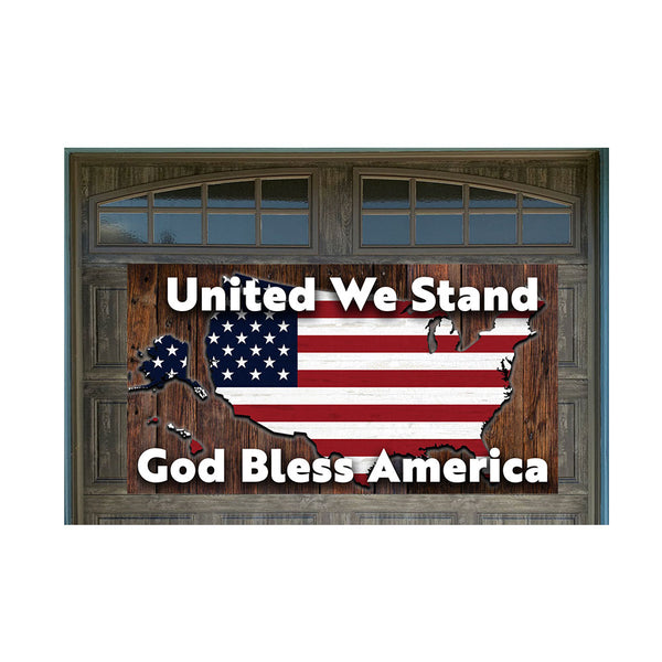 "United We Stand US Flag Map 42"" x 78"" Magnetic Garage Banner For Steel Garage Doors (US MADE)"