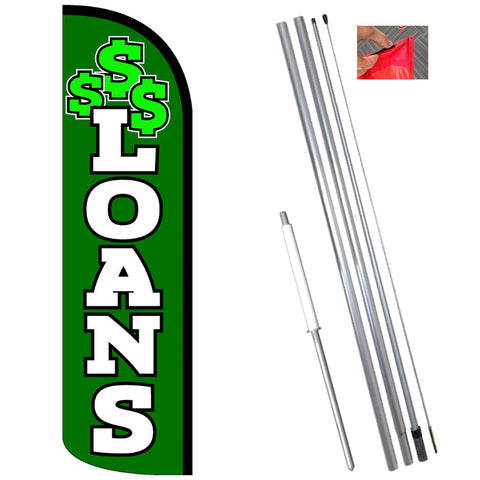 LOANS (Green/White) Windless Polyknit Feather Flag (11.5 x 3 feet)-Style Feather Flag Bundle 14' OR Replacement Flag Only 11.5'
