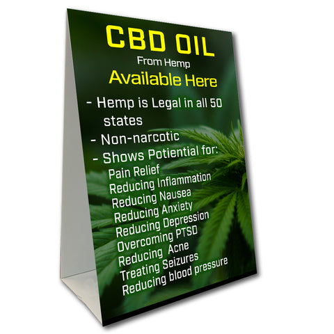 CBD Oil Available Here Benefits Economy A-Frame Sign (Size Options)