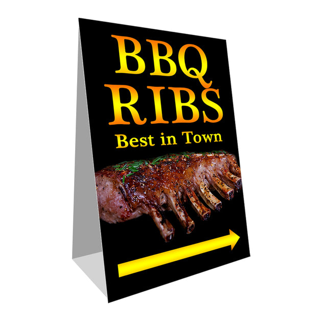 "BBQ Ribs Economy A-Frame Sign 24"" wide by 36"" tall (Made in the USA)"