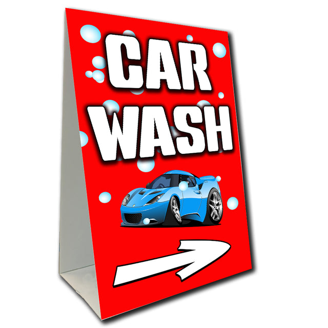 "Car Wash Arrow Economy A-Frame Sign (Size Options) 24"" wide by 36"" tall (Made in the USA)"
