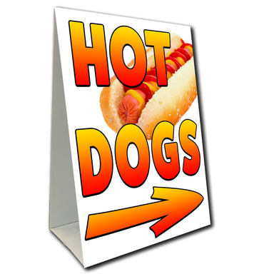 Hot Dogs Arrow Economy A-Frame Sign (Size Options)