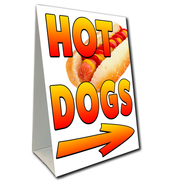 "Hot Dogs Arrow Economy A-Frame Sign (Size Options) 24"" wide by 36"" tall (Made in the USA)"