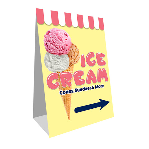 "Ice Cream (Arrow) Economy A-Frame Sign 24"" wide by 36"" tall (Made in the USA)"