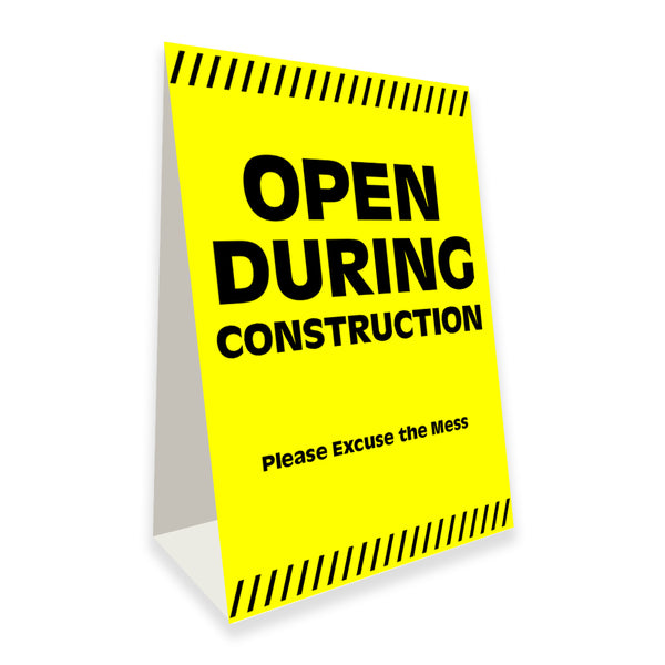 "Open During Construction Economy A-Frame Sign 24"" wide by 36"" tall (Made in the USA)"