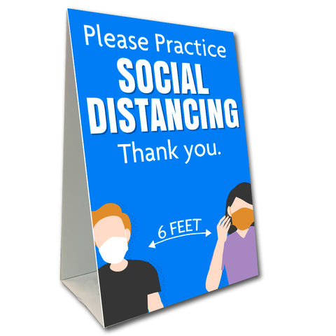 "Please Practice Social Distancing Economy A-Frame Sign 24"" wide by 36"" tall (Made in the USA)"