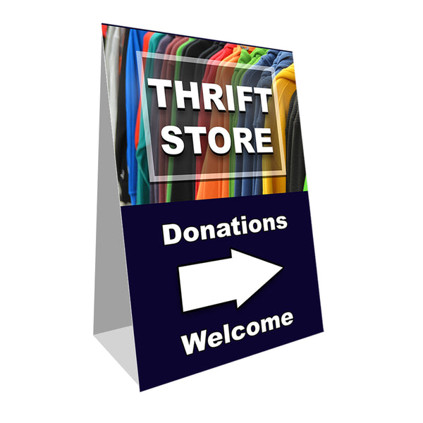 "Thrift Store Donations Welcome Economy A-Frame Sign 24"" wide by 36"" tall (Made in the USA)"