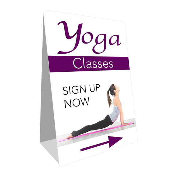 "Yoga Classes Economy A-Frame Sign 24"" wide by 36"" tall (Made in the USA)"