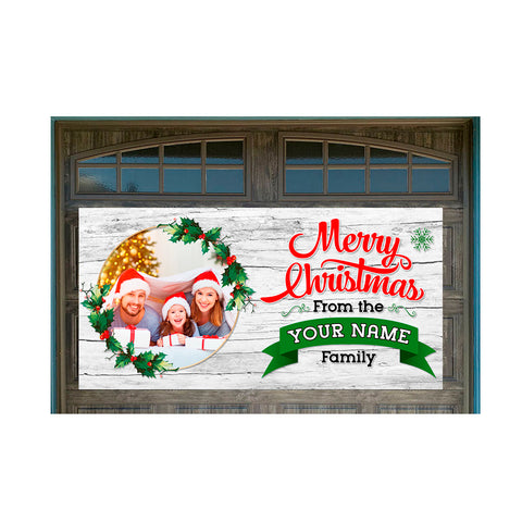 "Personalized Merry Christmas 42"" x 84"" Magnetic Garage Banner For Steel Garage Doors Customizable"