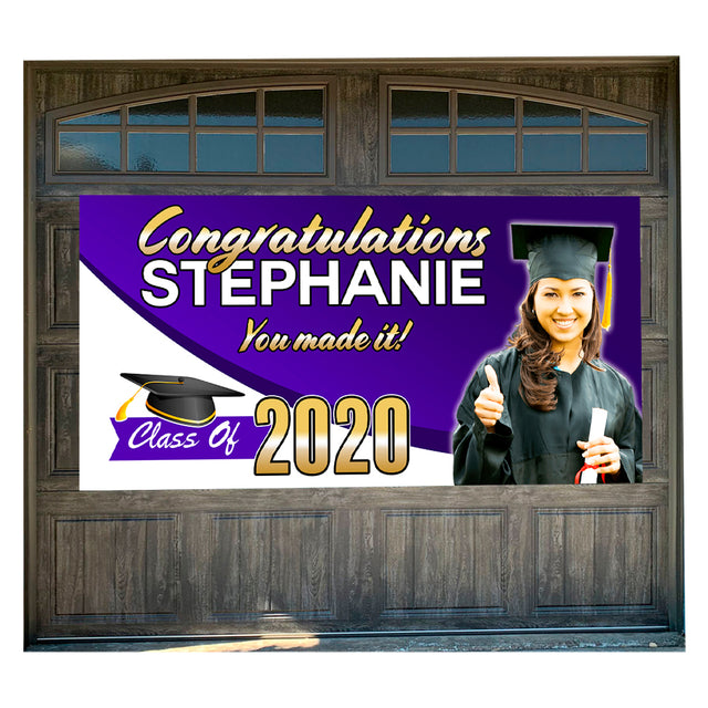 "Personalized Graduation 42"" x 84"" Magnetic Garage Banner For Steel Garage Doors Customizable"