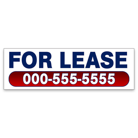 For Lease Vinyl Banner With Custom Phone Number (Size Options)