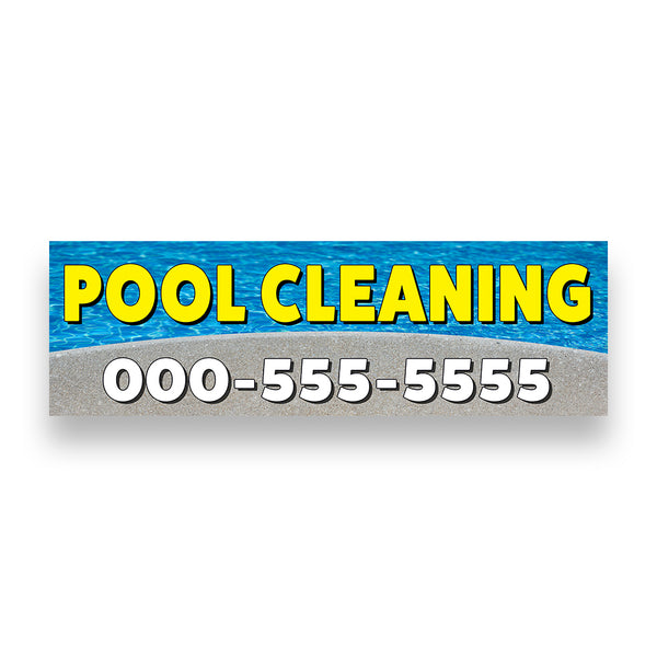 Pool Cleaning Vinyl Banner With Custom Phone Number (Size Options)