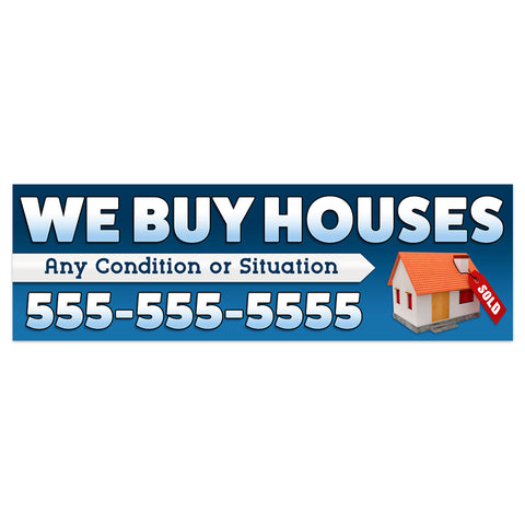 We Buy Houses Vinyl Banner With Custom Phone Number (Size Options)