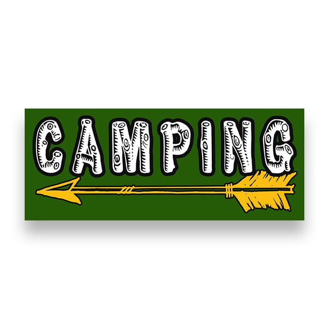 Camping Left Arrow Vinyl Banner (Size Options)