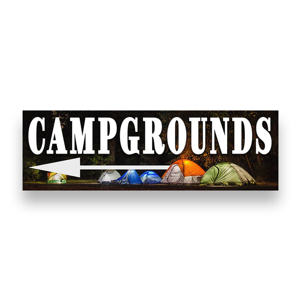 Campgrounds Left Arrow Vinyl Banner (Size Options)