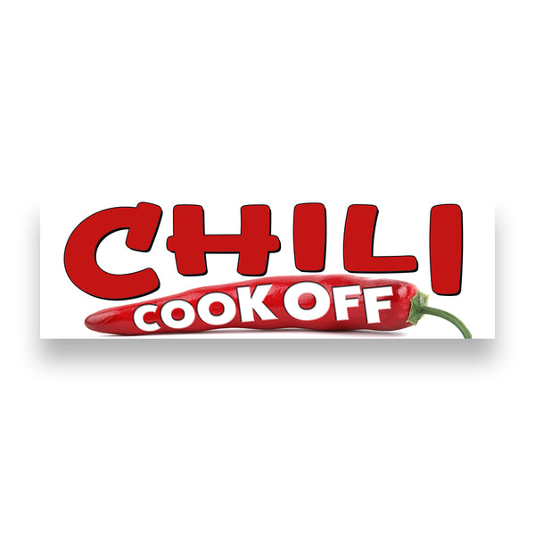 CHILI COOK OFF (White) Vinyl Banner (Size Options)