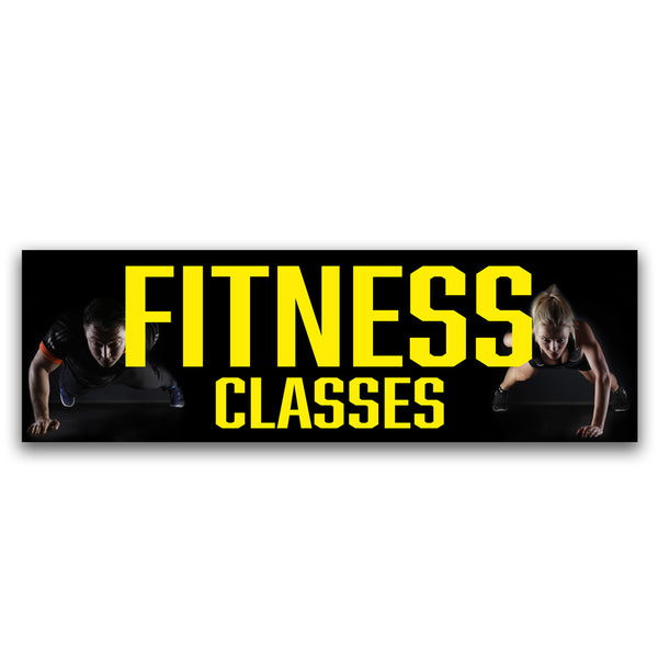 Fitness Classes Vinyl Banner (Size Options)