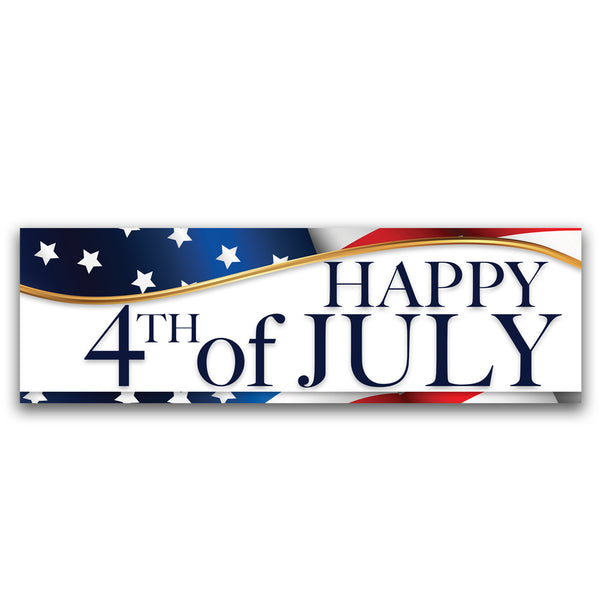 Happy 4th of July Vinyl Banner (Size Options)