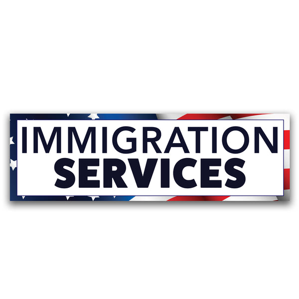 Immigration Services Vinyl Banner (Size Options)