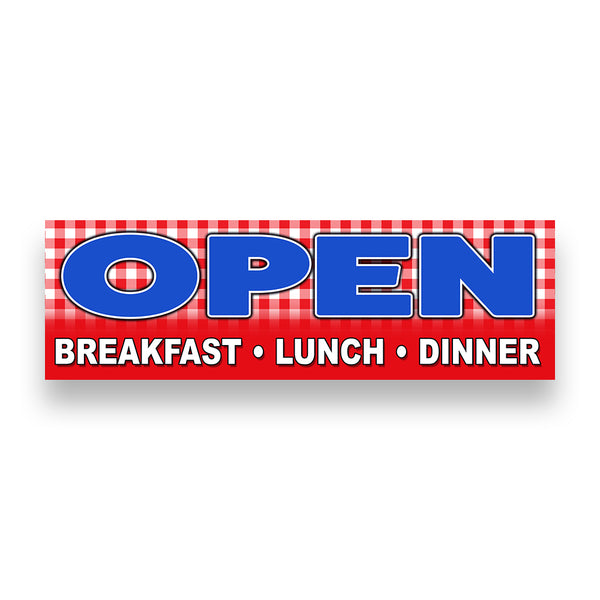 OPEN BREAKFAST LUNCH DINNER Vinyl Banner (Size Options)