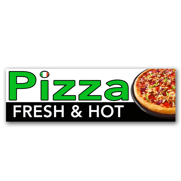 Fresh and Hot Pizza Vinyl Banner (Size Options)