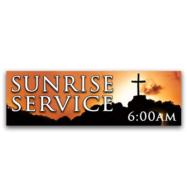 Sunrise Services 6:00am Vinyl Banner (Size Options)