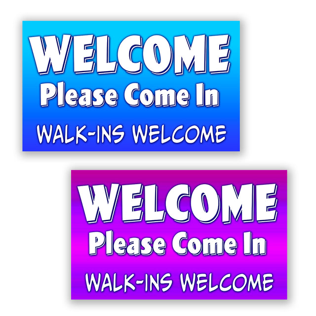 "2 Pack WELCOME Please Come In Walk-ins Welcome Perforated Window Decal 9"" x 15"" each (Removable)"