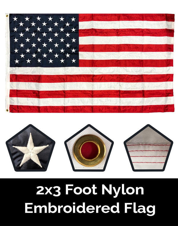 American (U.S.A.) Embroidered Nylon 2x3 Flag