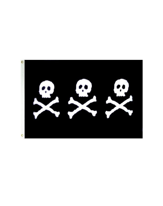 C. Condent's Triple 3 Skulls Pirate 3x5 Polyester Flag