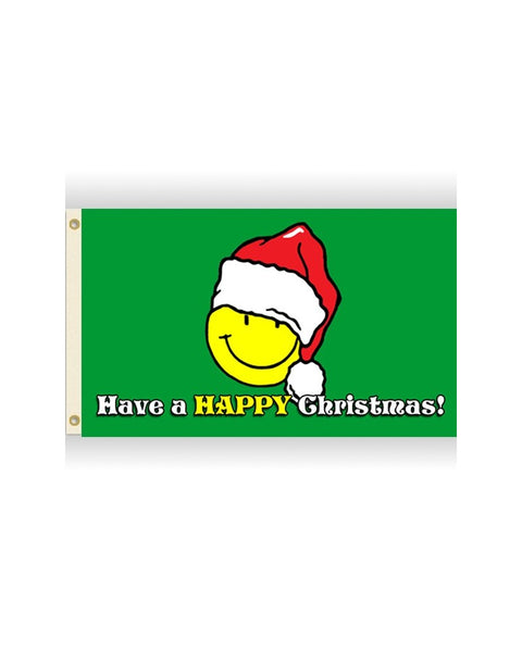Christmas Smiley Premium 3x5 Flag