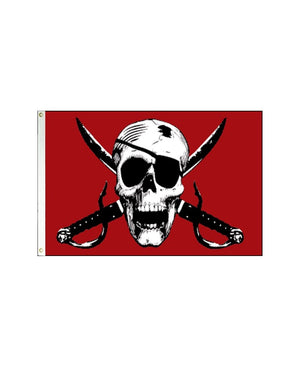 Crimson Pirate 3x5 Polyester Flag