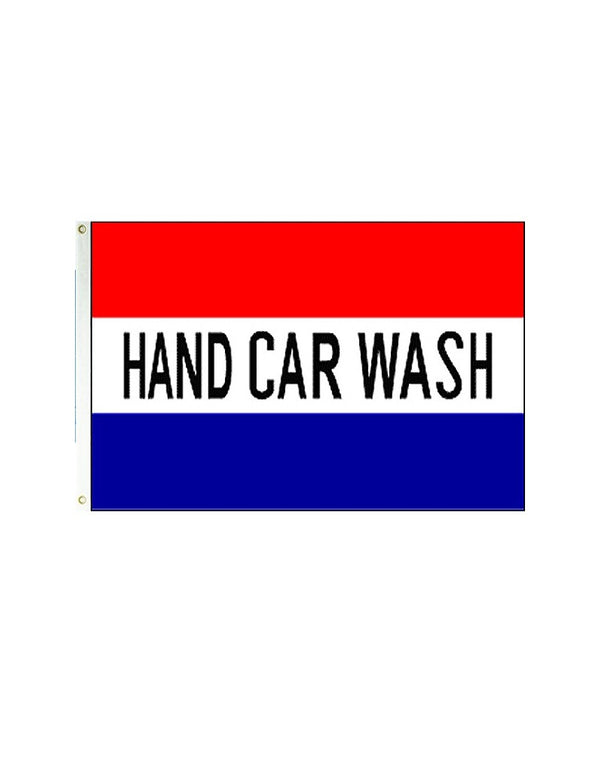 Hand Car Wash (Red, White & Blue) 3x5 Polyester Flag